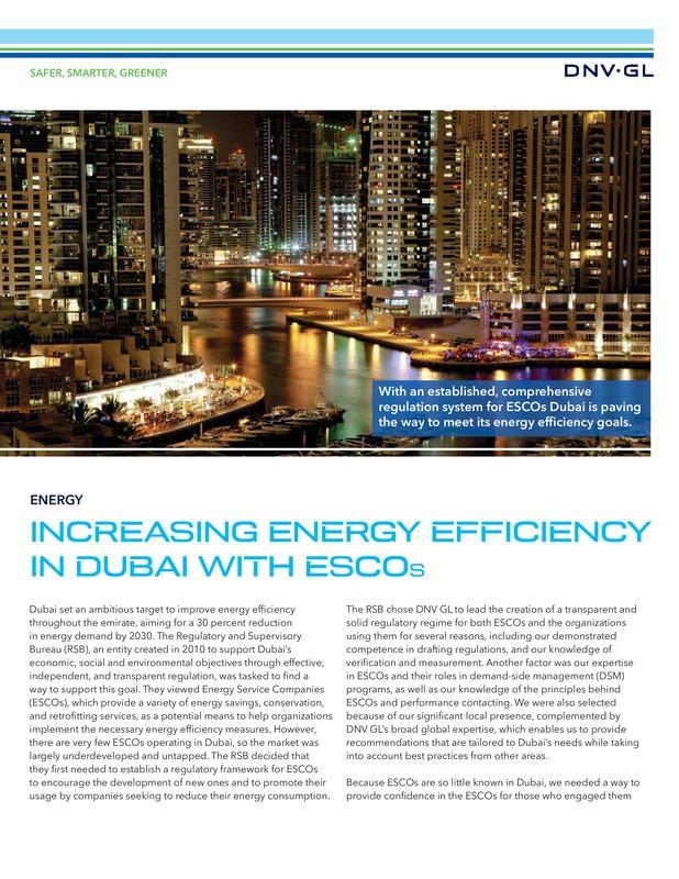 Increasing energy efficiency in Dubai with ESCOs