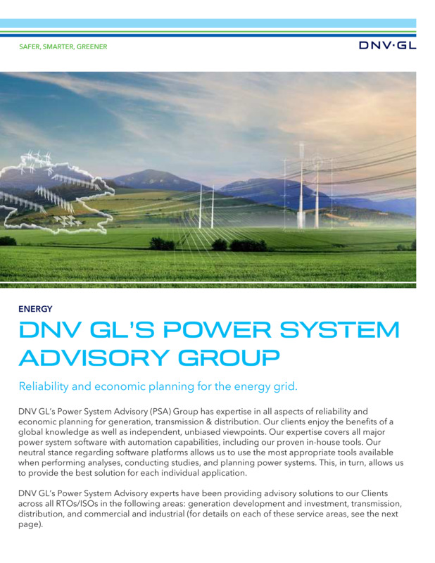 Power system advisory group